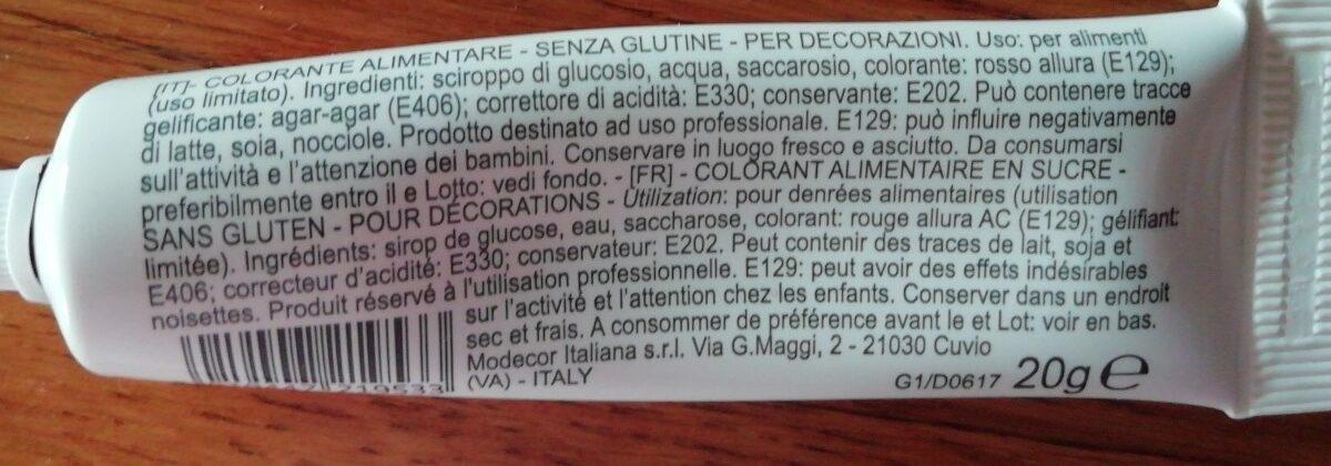Colorant alimentaire - Ingrédients - fr