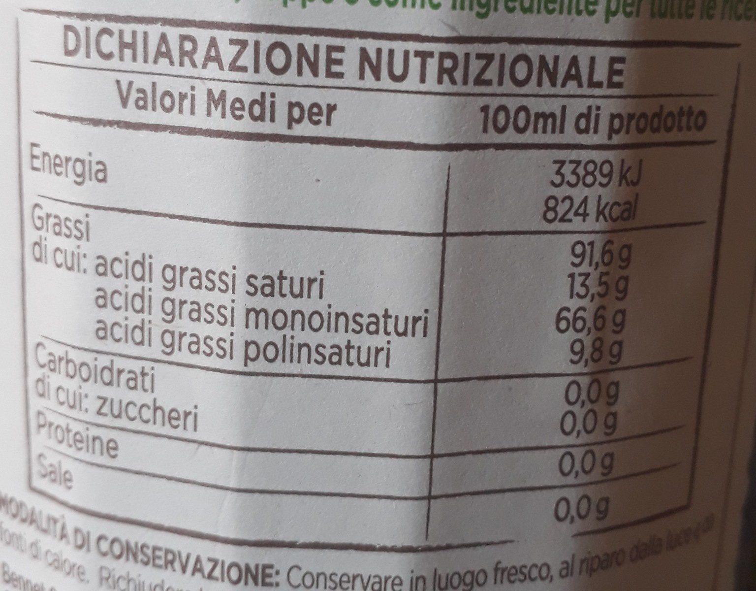 Olio extravergine di oliva biologico - Ingredients