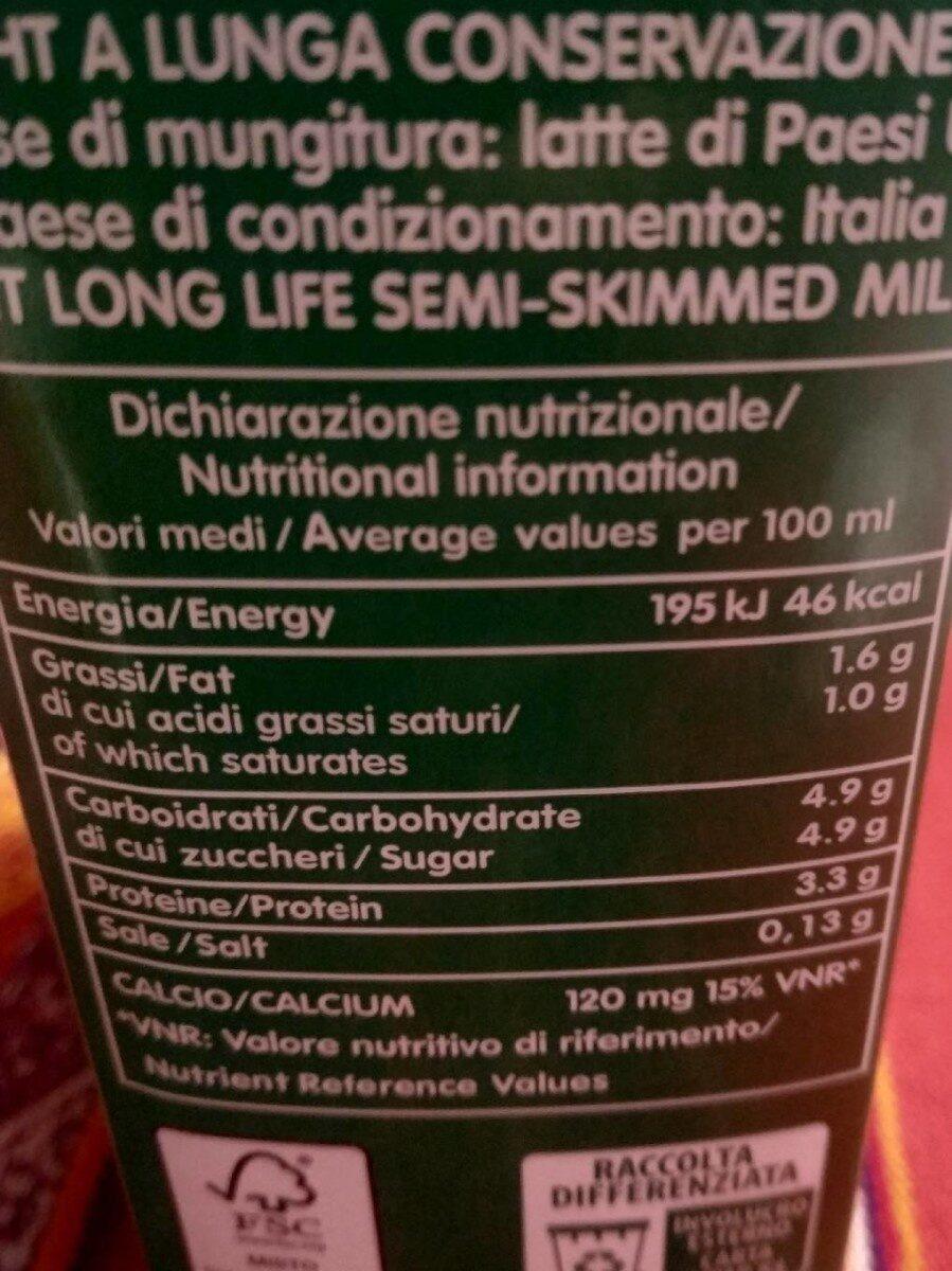 Latte Parzialmente Scremato - Informations nutritionnelles - it
