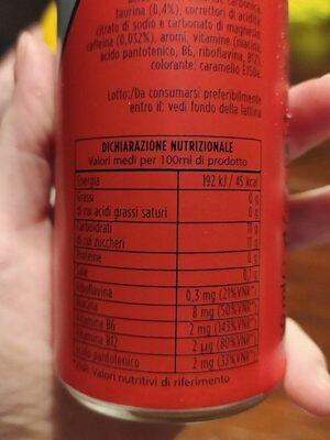 Boost Energy drink - Informazioni nutrizionali - it
