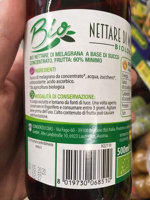 Nettare di melagrana - Ingredients