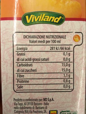 100% Natura - Nutrition facts