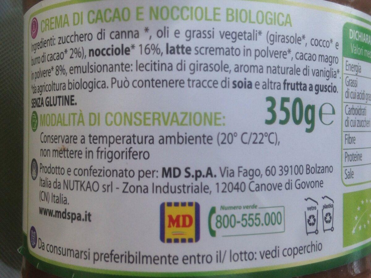 Crema di cacao e nocciole - Ingrédients - fr