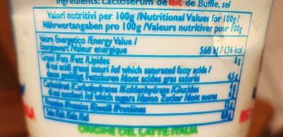 Ricotta di bufala - Nutrition facts - fr
