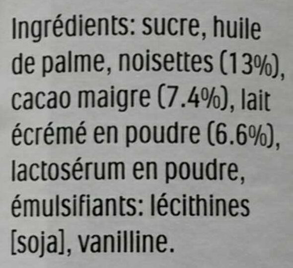 Nutella - Ingredientes - fr