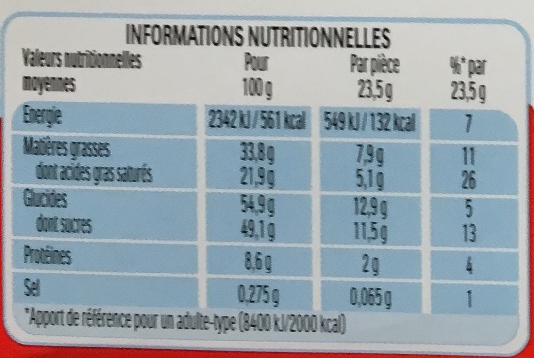 Kinder Country - 9 barres - Informations nutritionnelles