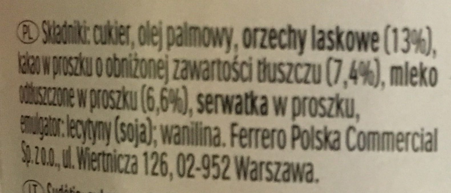 Nutella - Składniki - pl