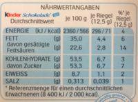 Kinder Chocolat - Informations nutritionnelles - fr
