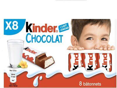 Kinder chocolat - chocolat au lait avec fourrage au lait 8 barres - Produit