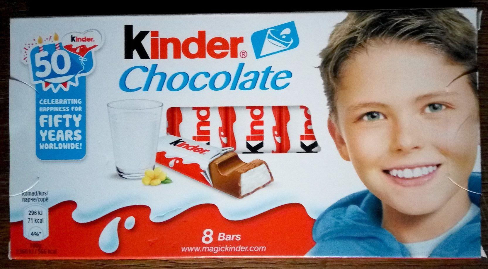 Kinder chocolat - chocolat au lait avec fourrage au lait 8 barres - Производ - sr