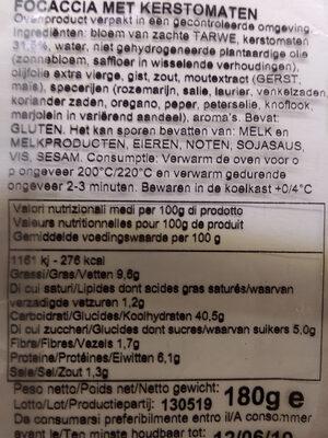 Focaccia italiana - Voedingswaarden