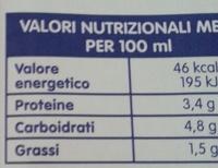 Latte parzialmente scremato UHT - Nährwertangaben