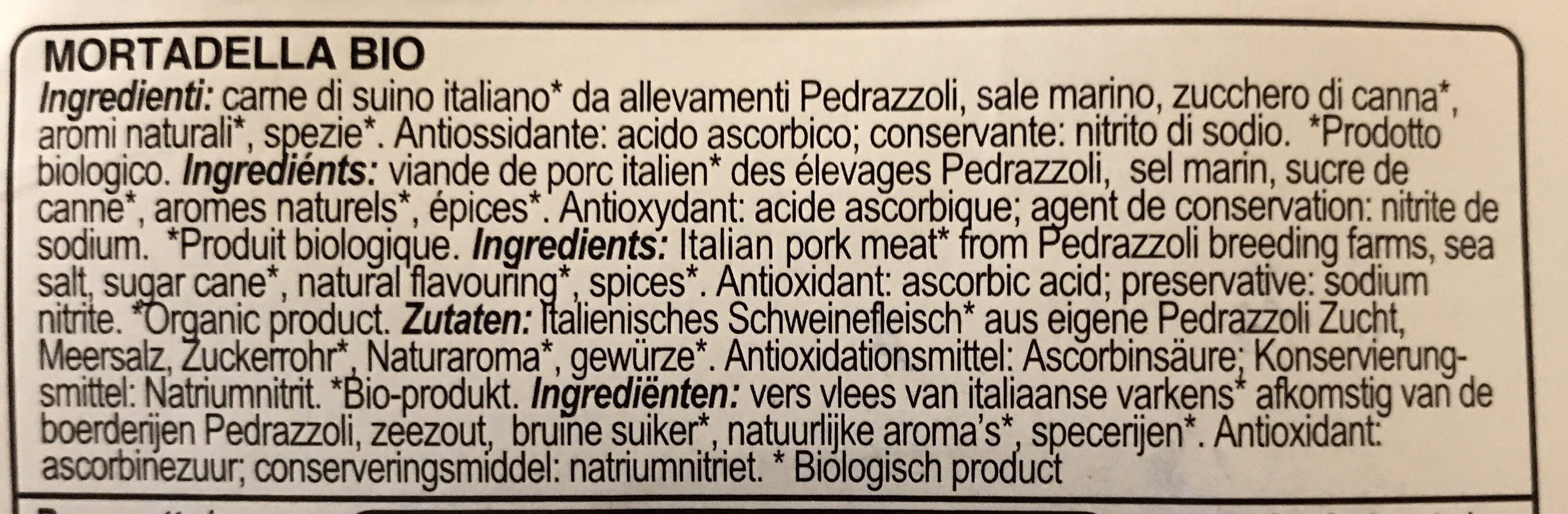 Mortadelle Chiffonnade Bio 100g - Ingrediënten - fr