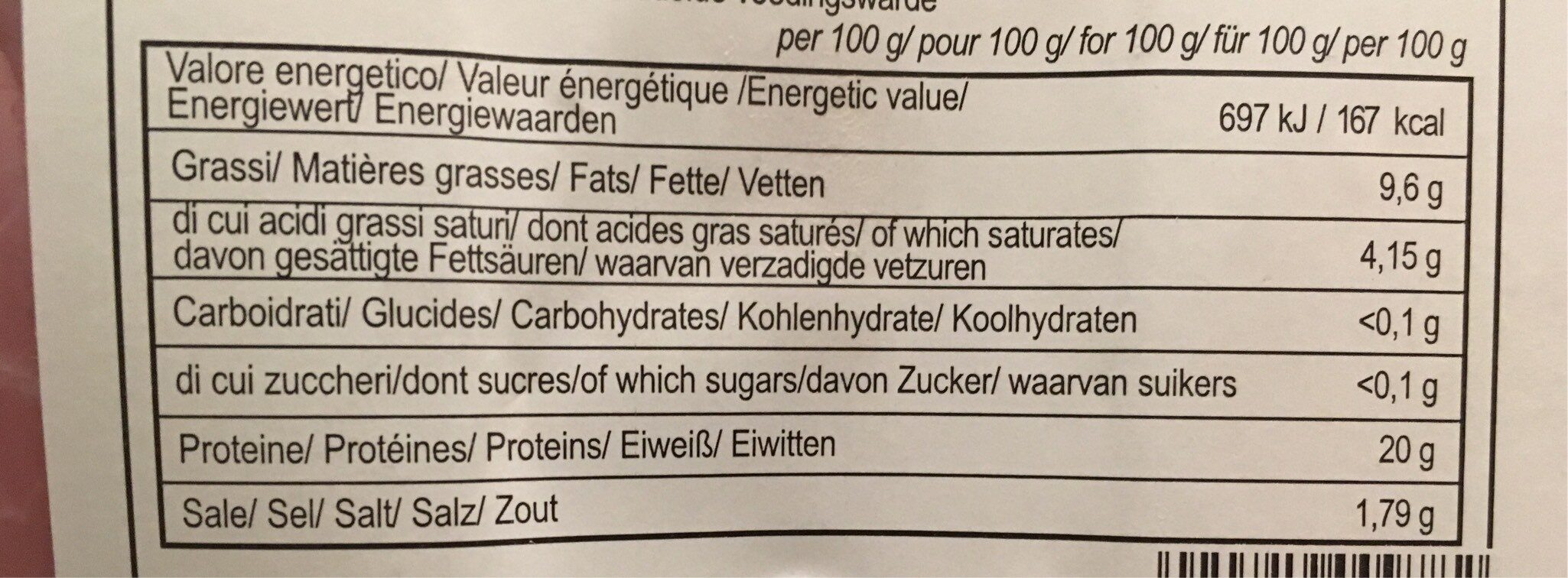 Jambon Blanc Basilic X4 - Voedingswaarden - fr