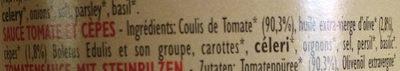Sauce Tomate aux Bolets et Cepes - Ingrédients - fr