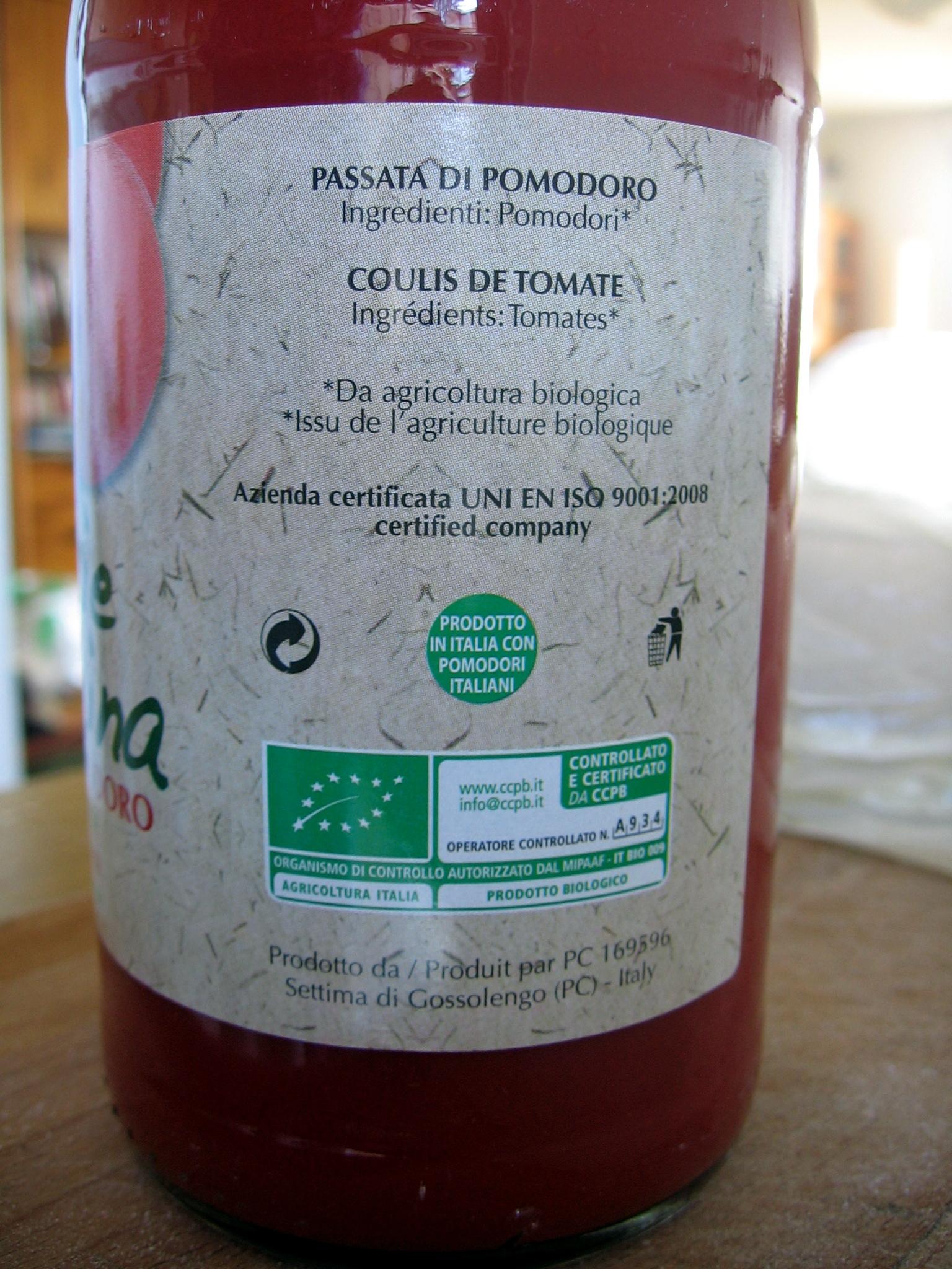 Passata di Pomodoro - Ingrediënten