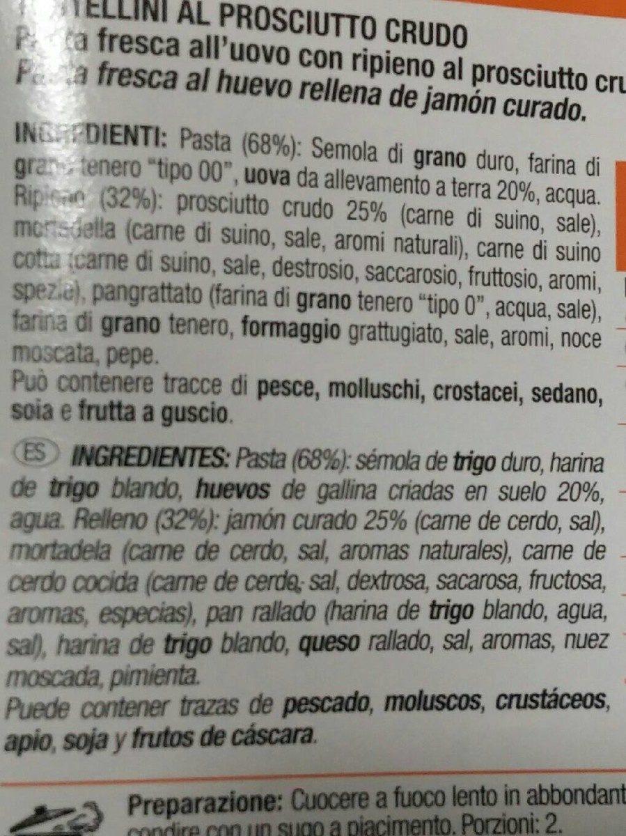 Tortellini prosciutto crudo - Ingrédients - fr
