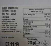 Gorgonzola dulce - Voedigswaarden