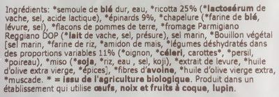 Tortelli Ricotta Épinards sans œufs - Ingrediënten