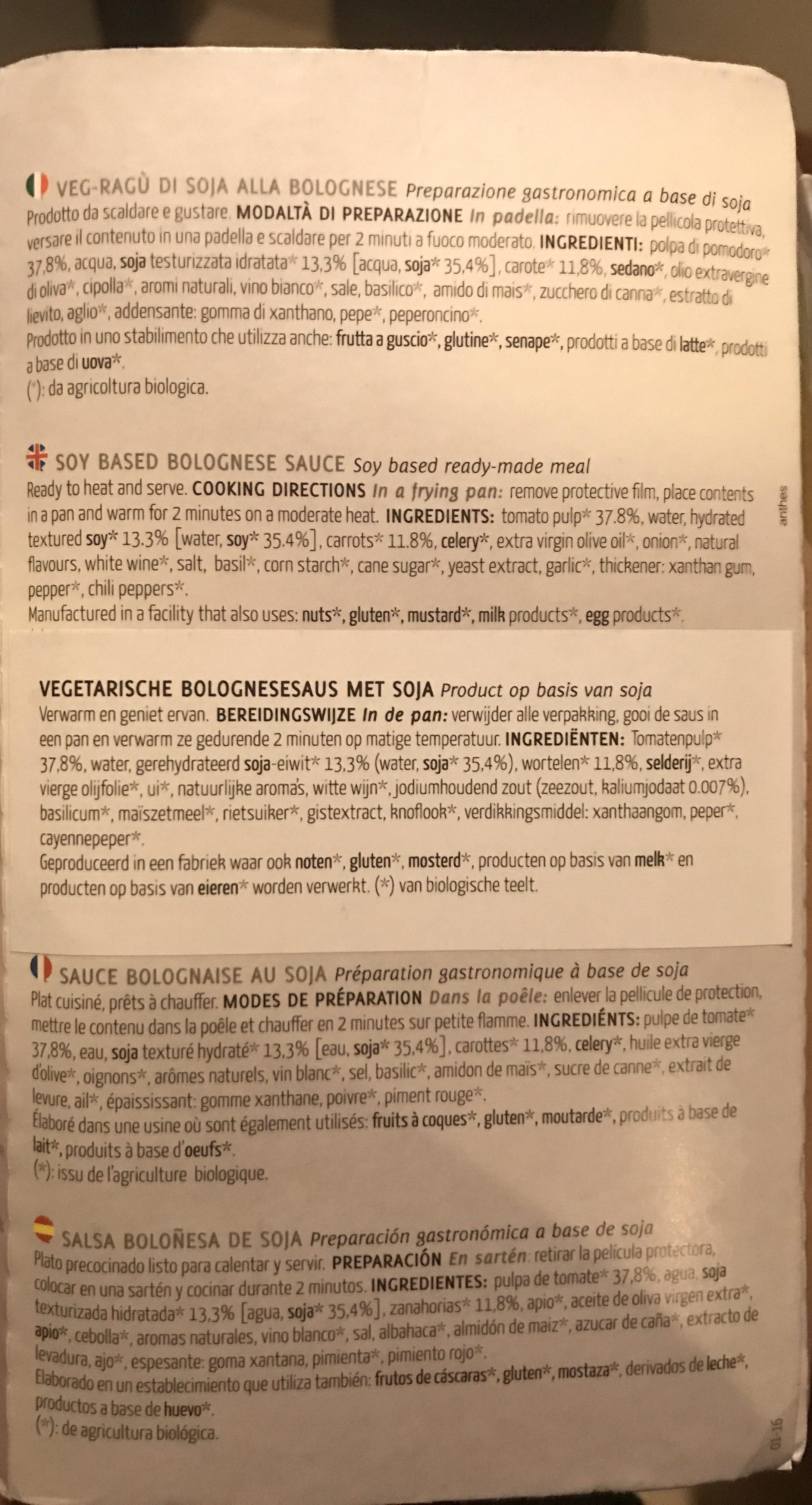 Veg-ragu Di Soja Alla Bolognese - Ingredients