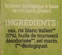 Boisson de riz - Ingrédients - fr