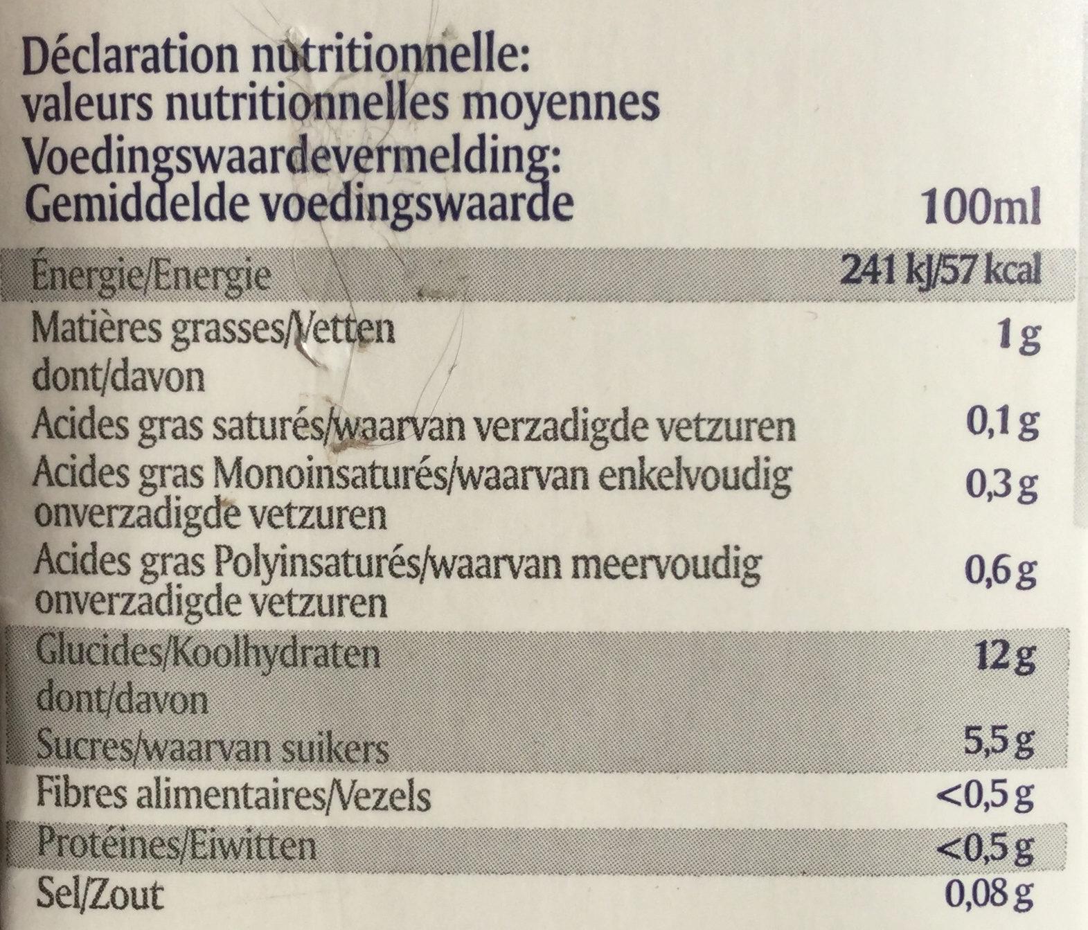 Boisson de riz - Nutrition facts