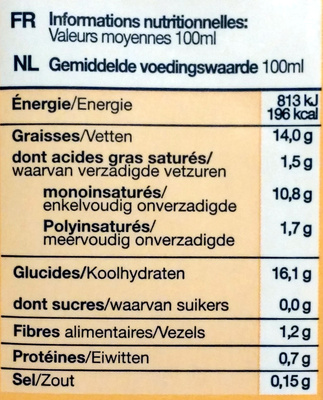 Cuisine riz - Nutrition facts