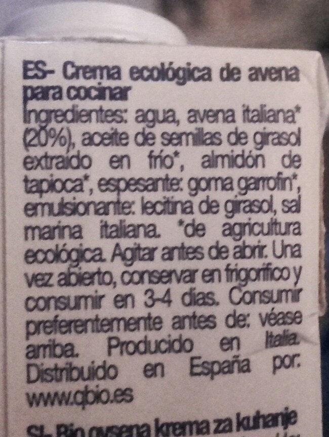Creme Avoine Cuisine - Ingredients - es