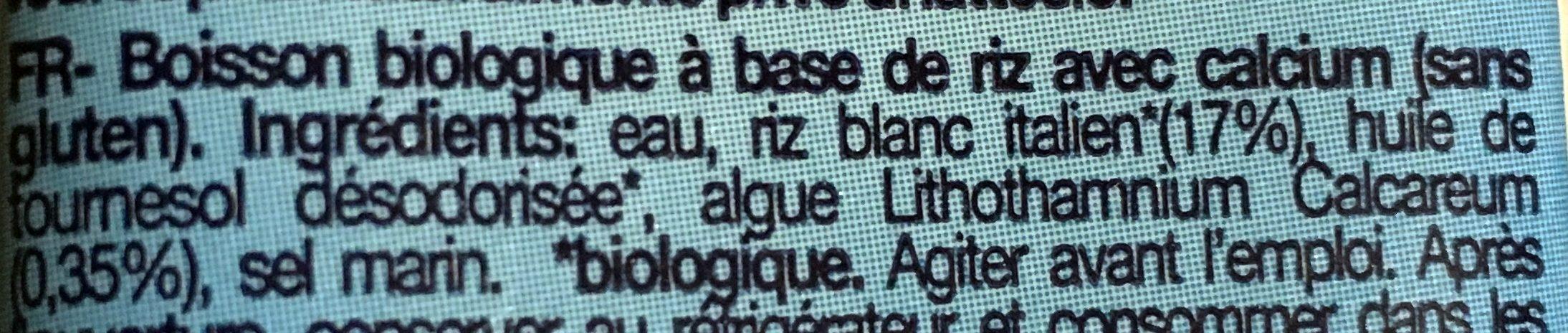 Boisson Riz Calcium - Ingrédients - fr