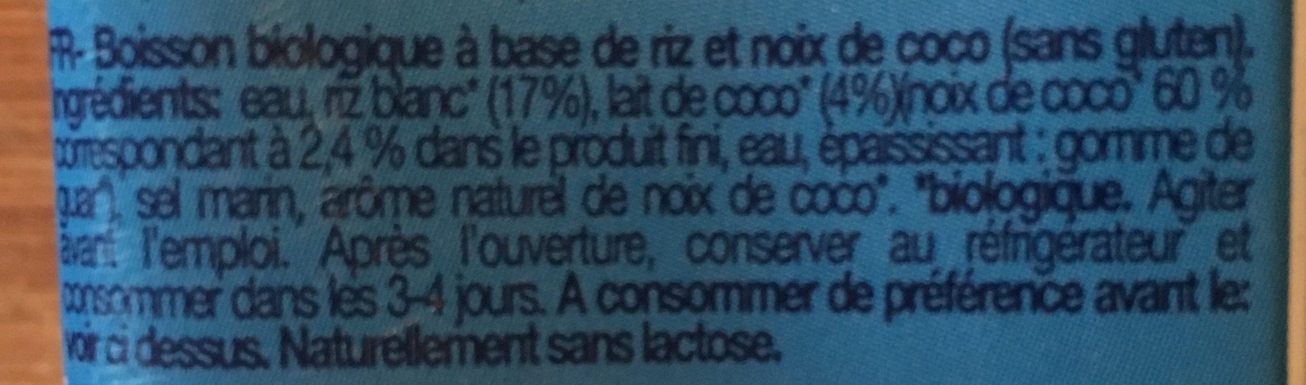 Boisson biologique à base de riz et noix de coco sans gluten - Ingredienti - fr