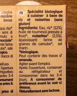 Cuisine Noisette - Ingrediënten - fr