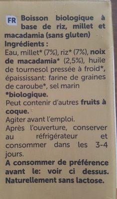 Boisson végétal macadamia riz millet - Ingrédients