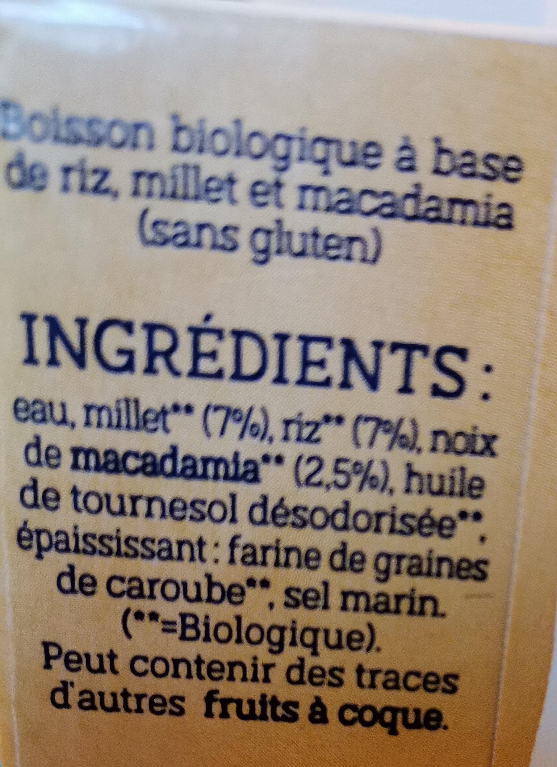 Céréales macadamia Riz millet - Ingrediënten - fr