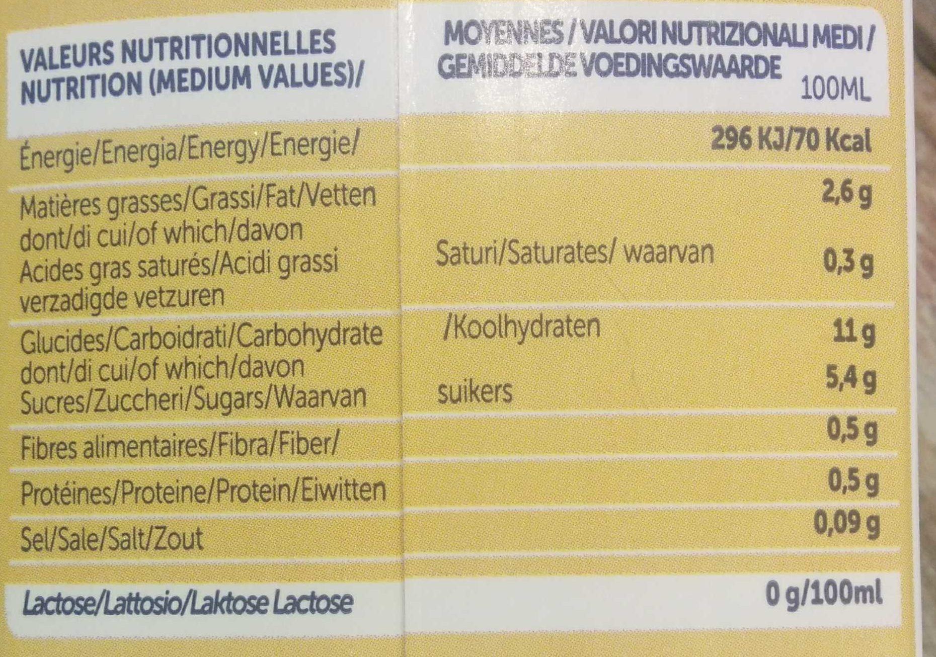 Boisson végétal céréale macadamia riz millet - Informations nutritionnelles - fr