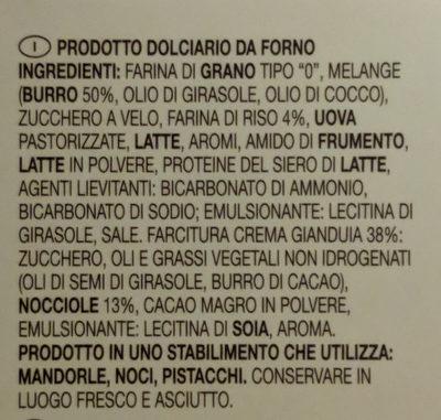Cuore di crostata gianduia cream - Inhaltsstoffe - it