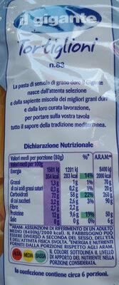 Pasta di semola di grando duro n. 83 - Informazioni nutrizionali