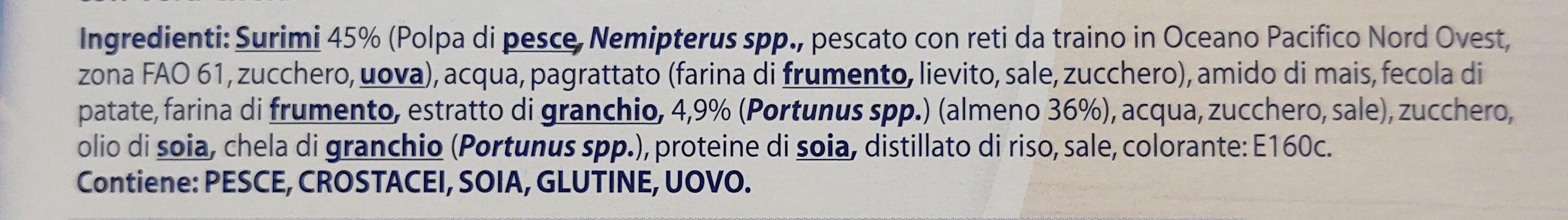 Chele di surimi al sapore di granchio congelate - Ingrediënten - it