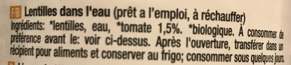 Lentilles - Ingrediënten - fr