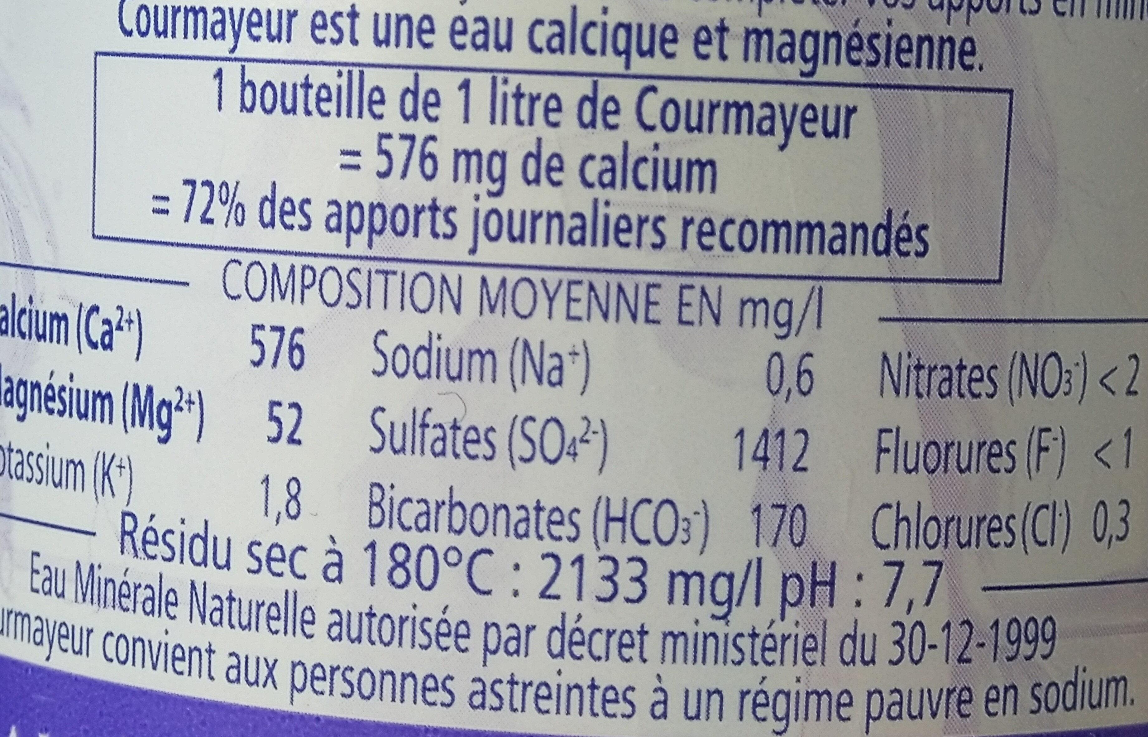 Courmayeur 1L - Valori nutrizionali - fr