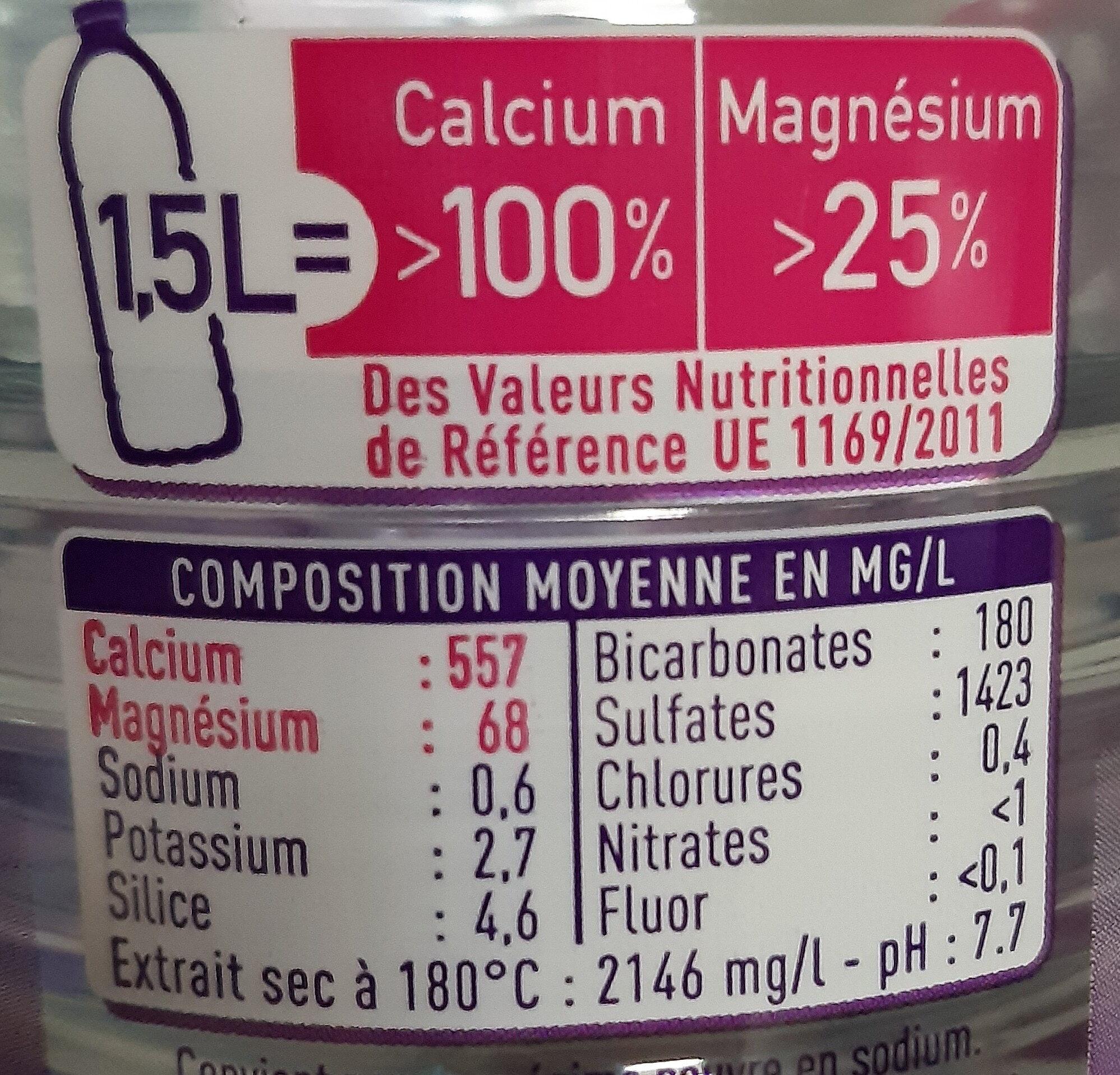 Courmayeur - Eau minérale naturelle - Informations nutritionnelles - fr