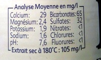Eau Mont Blanc - Valori nutrizionali - fr
