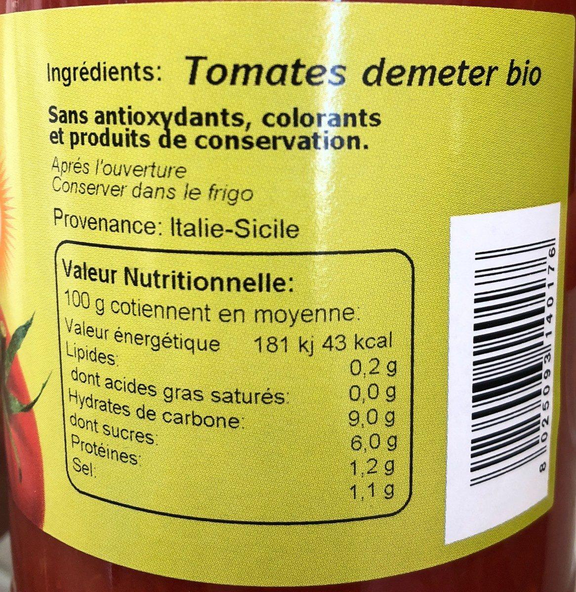 Puree de tomates - Ingrédients