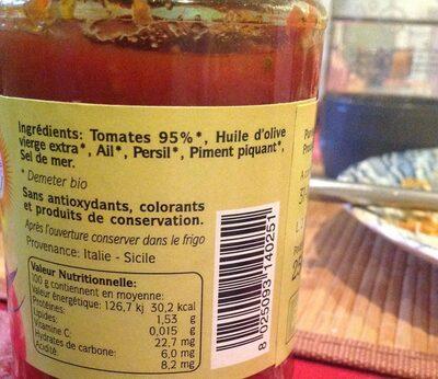 Purée de tomates bio arrabiata - Ingrédients - fr