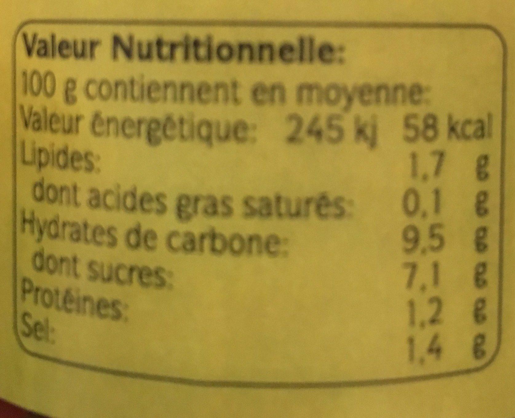 Purée de tomates bio arrabiata - Informations nutritionnelles - fr