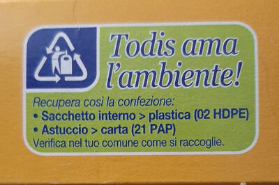 bastoncini di crusca - Recycling instructions and/or packaging information - it