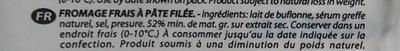 Mozzarella di Bufala Campana AOP (24% MG) - 150 g - Valcolatte - Ingrédients