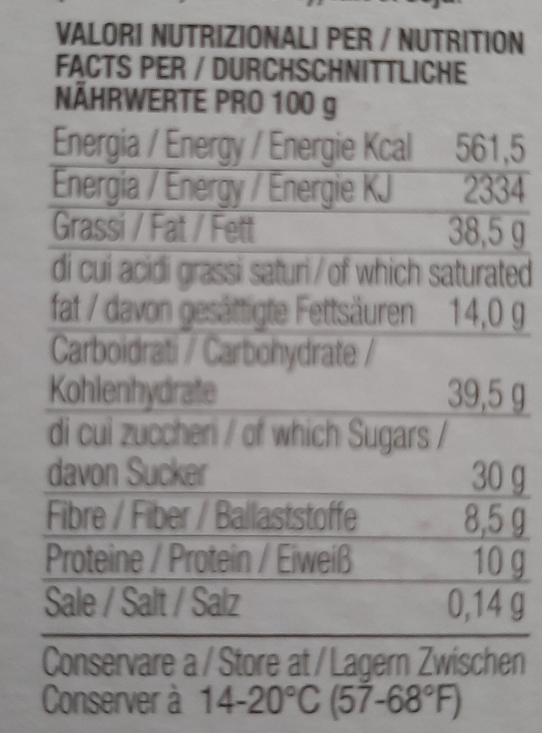 Cioccolato trinitario 70% - Informazioni nutrizionali - it