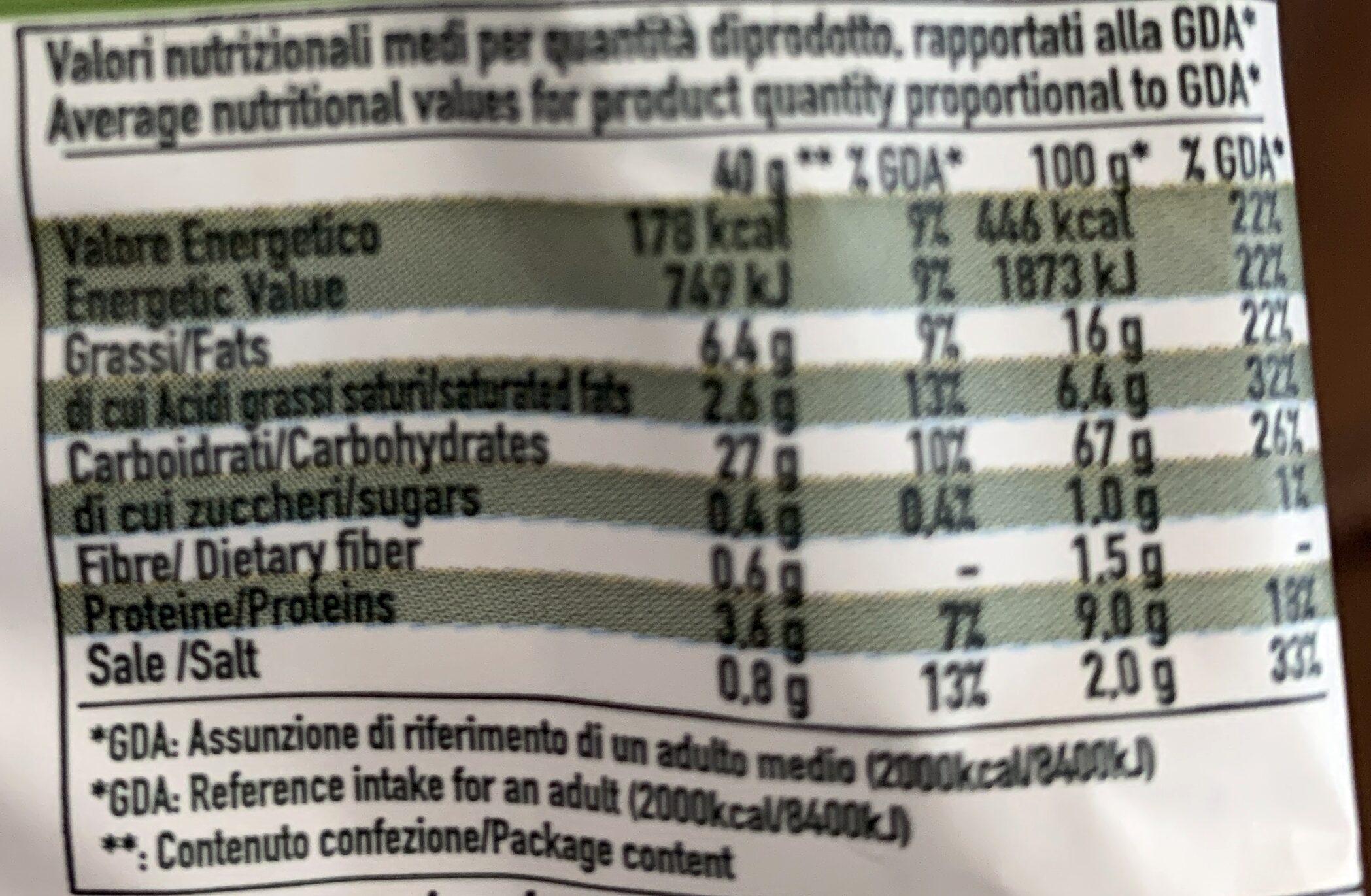 Tarallini gusto classico - Nutrition facts