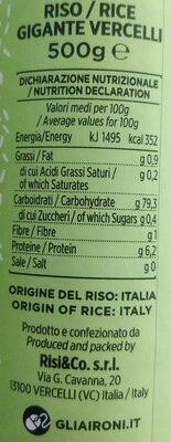 Riso gigante Vercelli - Nutrition facts - it