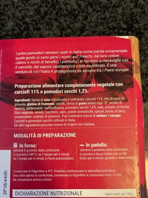 Burger vegetale ai carciofi e pomodori secchi - Ingredients - es